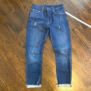 Levi's 501 S skinny jeans with raw hem